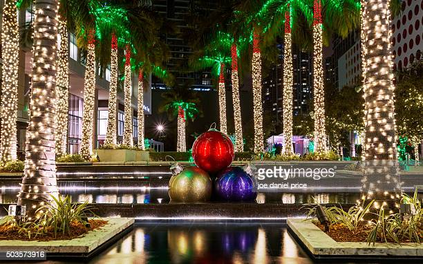 christmas decorations, miami, florida, america - florida christmas stock pictures, royalty-free photos & images