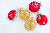 christmas decorations snow background copy space