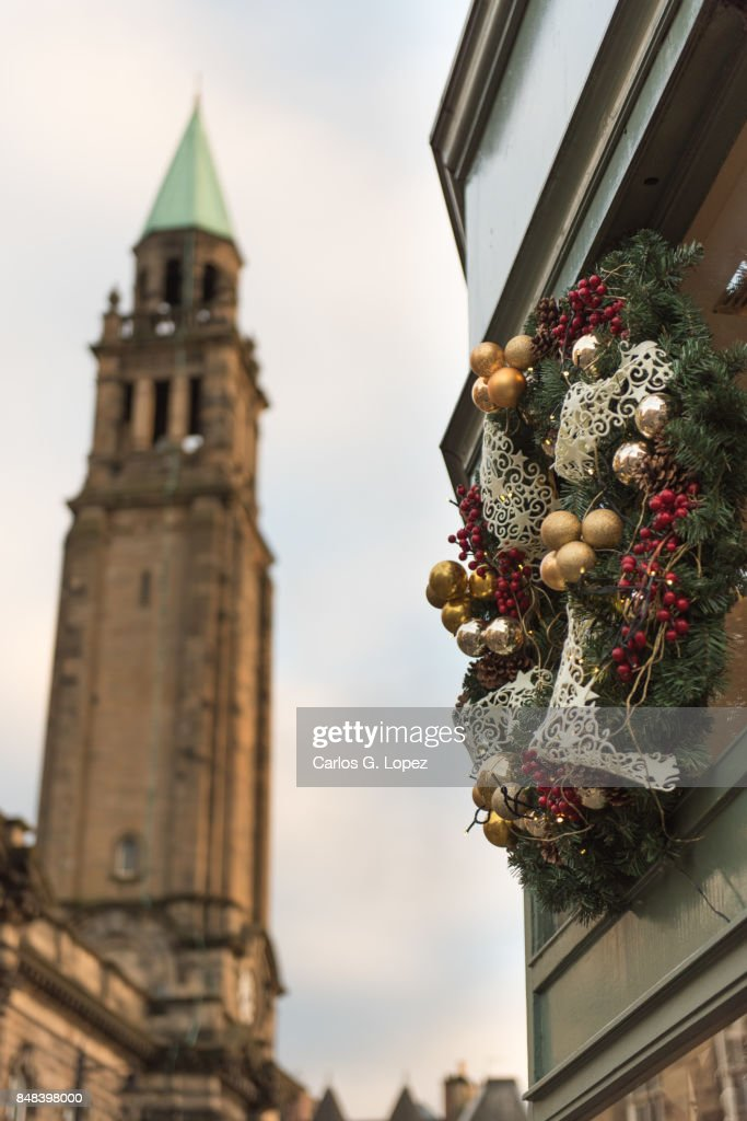 Christmas Decorations On Building Outdoor Christmas Stock Photo ...