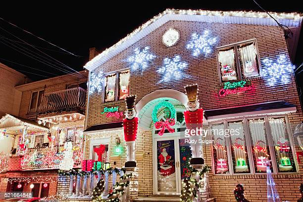 Christmas decorations on house in Brooklyn
