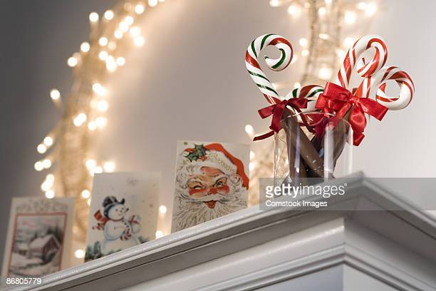 Christmas decorations on mantle
