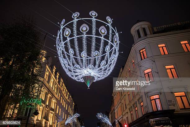 Christmas decorations on New Bond Street on December 13 2016 in London England November's Consumer Prices Index inflation rate was the highest since...