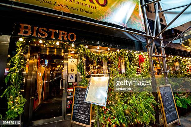 Christmas decorations on New York bistro, USA