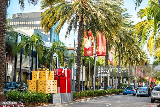 Christmas decorations on Rodeo Drive, CA, USA
