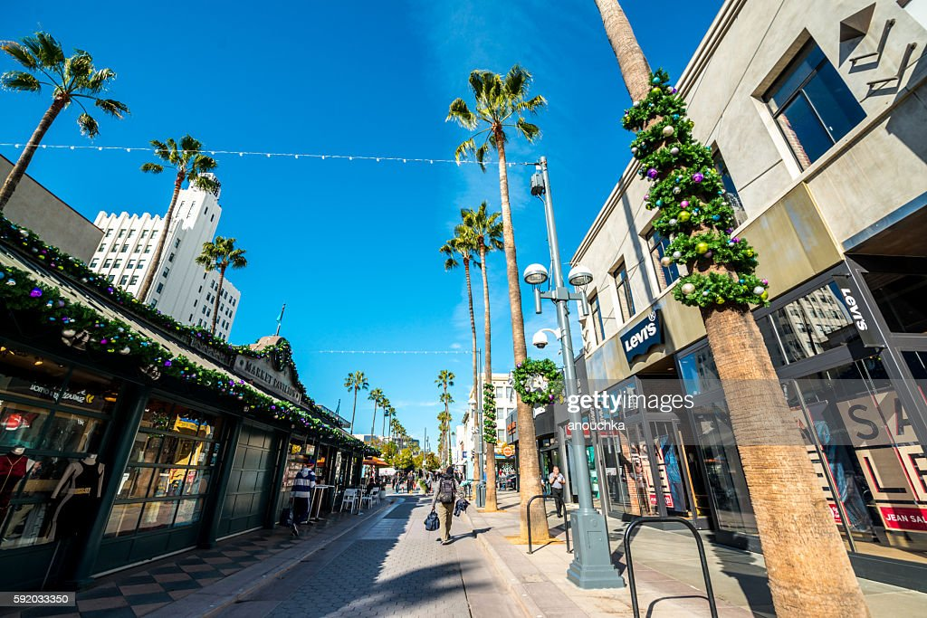 Christmas decorations on Santa Monica streets, USA : Stock Photo