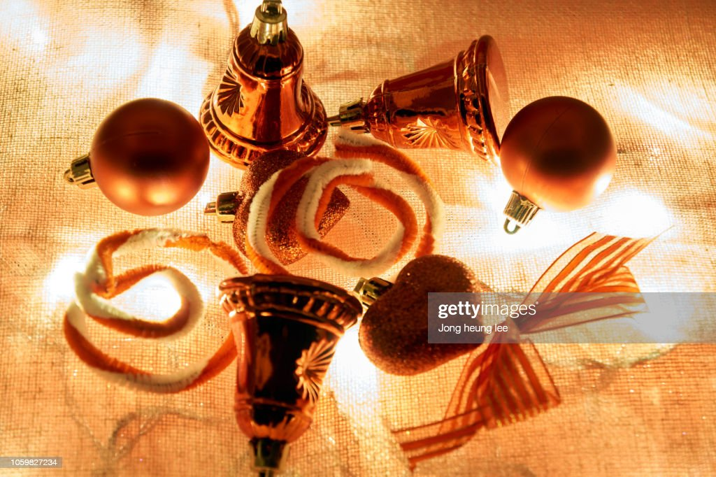 Christmas decorations on the lights : Stock Photo