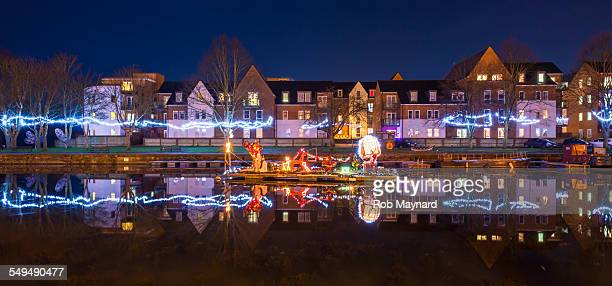 Christmas decorations on the river