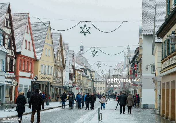 Christmas decorations on the streets of Forchheim Christmas Market in the Northern Bavarian town of Forchheim It snowed heavily but a lot of people...