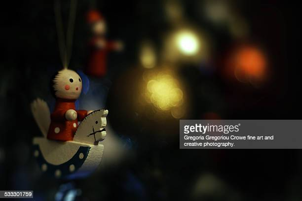 christmas decorations on tree - gregoria gregoriou crowe fine art and creative photography stock-fotos und bilder