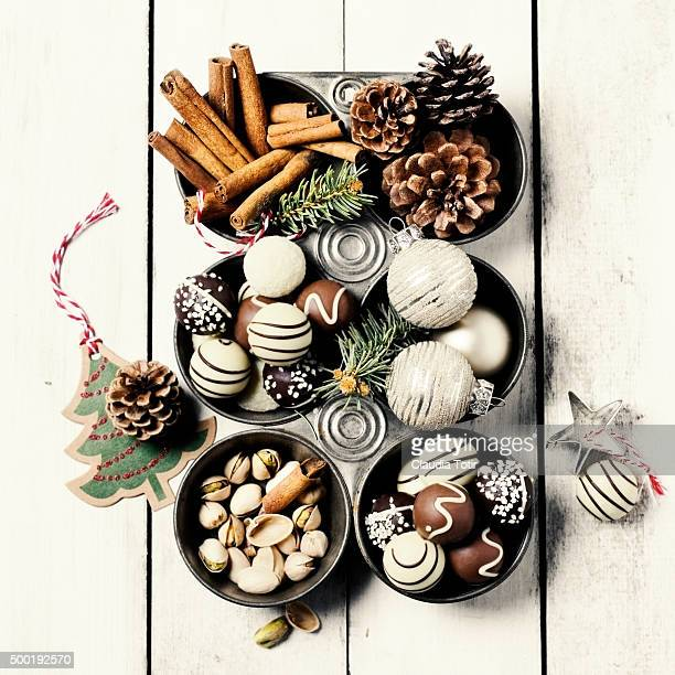 christmas decorations - chocolate pieces stock photos and pictures