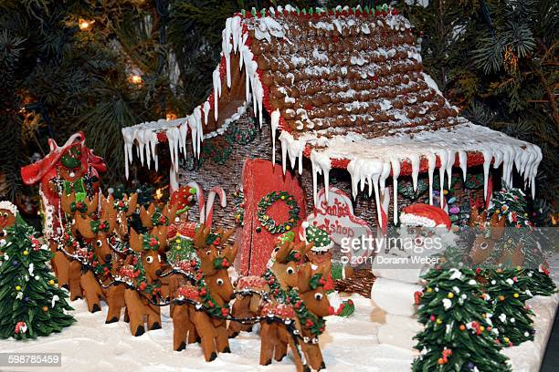 christmas decorations - santas workshop stock photos and pictures