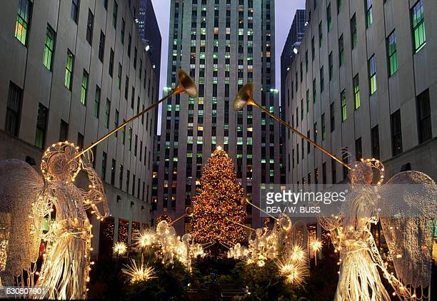 Christmas decorations Rockefeller Center at night Manhattan New York United States of America