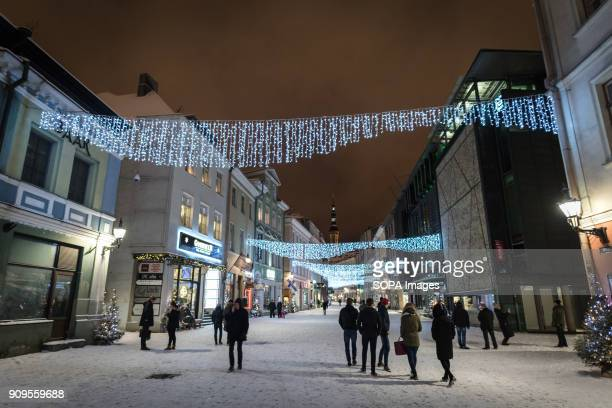 Christmas decorations seen at Viru Street in Tallinn's old town Viru Street is one of the busiest in Tallinns old town with restaurants bars and...