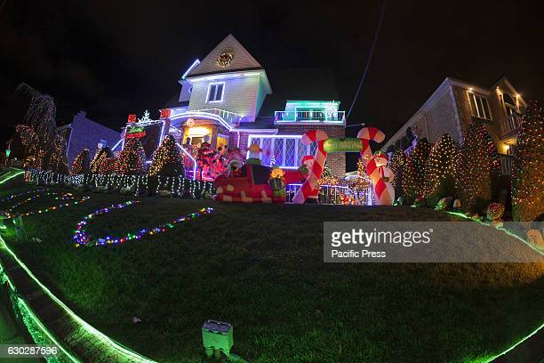 Christmas decorations with Nativity scene on streets of Dyker Heights neighborhood in Brooklyn.