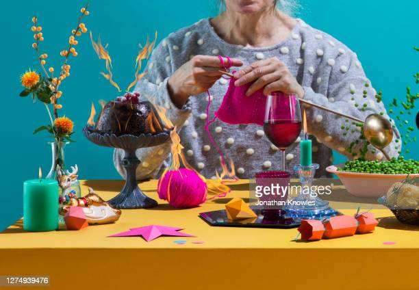 christmas dinner chaos - multi coloured stock pictures, royalty-free photos & images