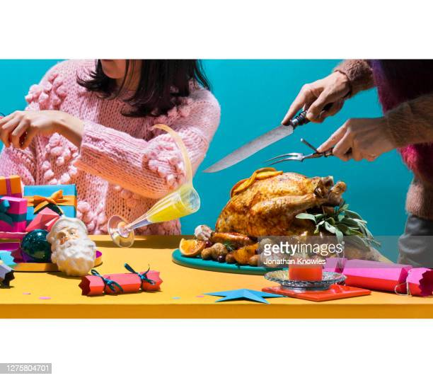 christmas dinner chaos - holiday stock pictures, royalty-free photos & images