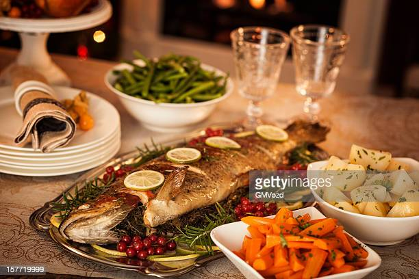 christmas dinner - salmon seafood stock pictures, royalty-free photos & images