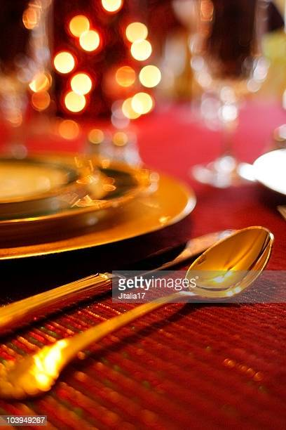 Christmas Dinner: Place Setting With Table Decorations