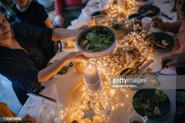 christmas dinning table setting - vegetarian food stock pictures, royalty-free photos & images