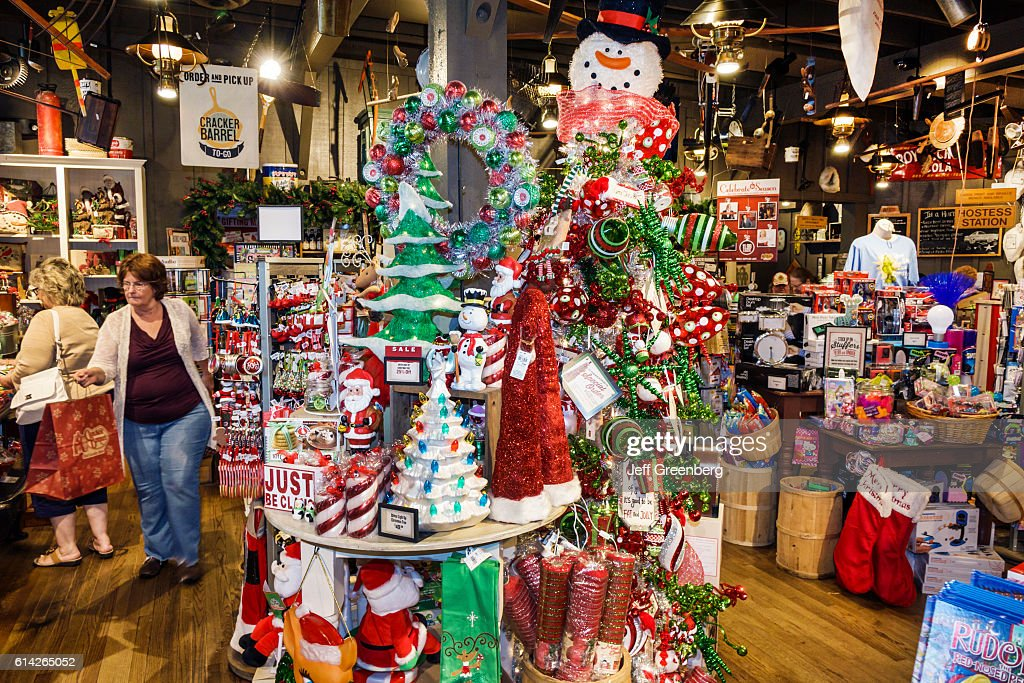 christmas display inside cracker barrel country store news photo