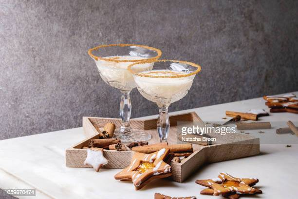 christmas eggnog cocktail - eggnog stock photos and pictures