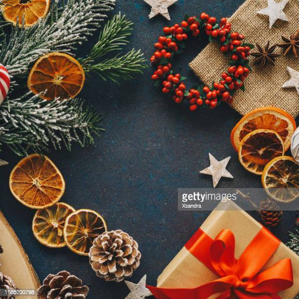 christmas elements background - flat lay stock pictures, royalty-free photos & images