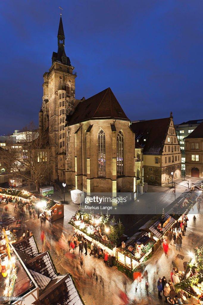 Christmas In Stuttgart Germany.Christmas Fair On Schillerplatz Square Stiftskirche Church