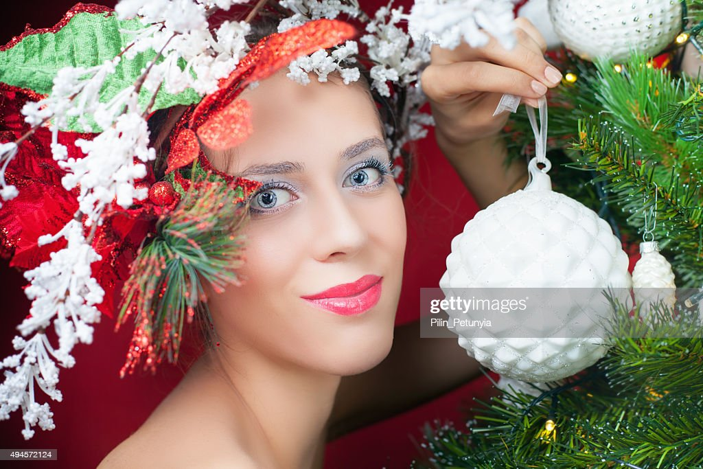 Christmas Fairy Woman With Tree Hairstyle Decorating Christmas Tree