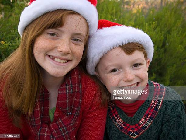 Christmas Family Winter Holiday Portrait, Redhead Freckles Children Siblings