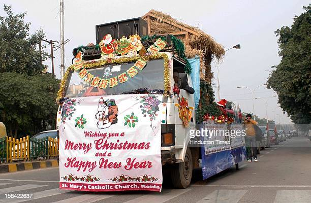 Christmas festival procession was taken out by St. Mary's Catholic Church, Noida in Sector 29 on December 16, 2012 in Noida, India. Christians are...