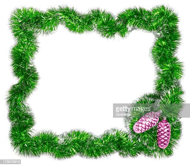 christmas festive frame - add text - tinsel stock pictures, royalty-free photos & images