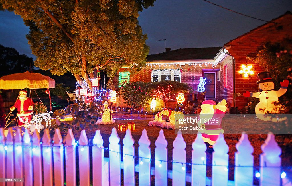 Christmas festive lights are displayed on a house in Macleod as Melbourne lights up for Christmas on December 14, 2012 in Melbourne, Australia. Residents across Melbourne are lighting their property's with Christmas lights in the build up to Christmas Day.