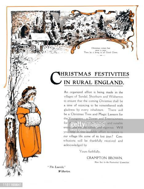 Christmas Festivities in Rural England' 1909 From The British Printer Vol XXII [Raithby Lawrence Co Ltd London and Leicester 1909] Artist Unknown