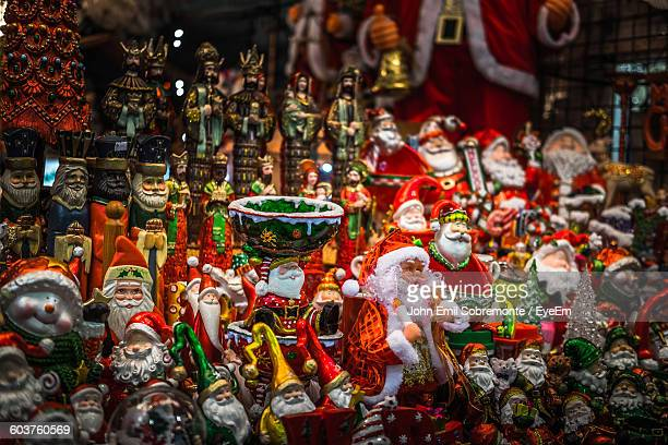 Christmas Figurines For Sale At Market Stall