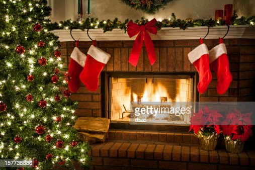 Christmas Fireplace Tree And Decorations Stock