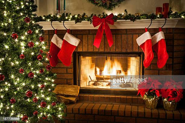 Christmas fireplace, tree, and decorations
