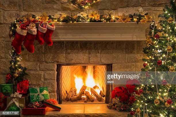 Christmas fireplace, tree, stockings, fire, hearth, lights, decorations