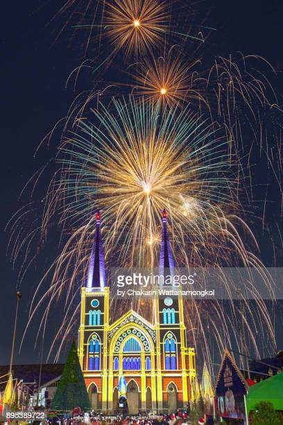 Christmas Firework and the Chanthaburi Cathedral