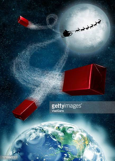 christmas flight - sleigh stock photos and pictures