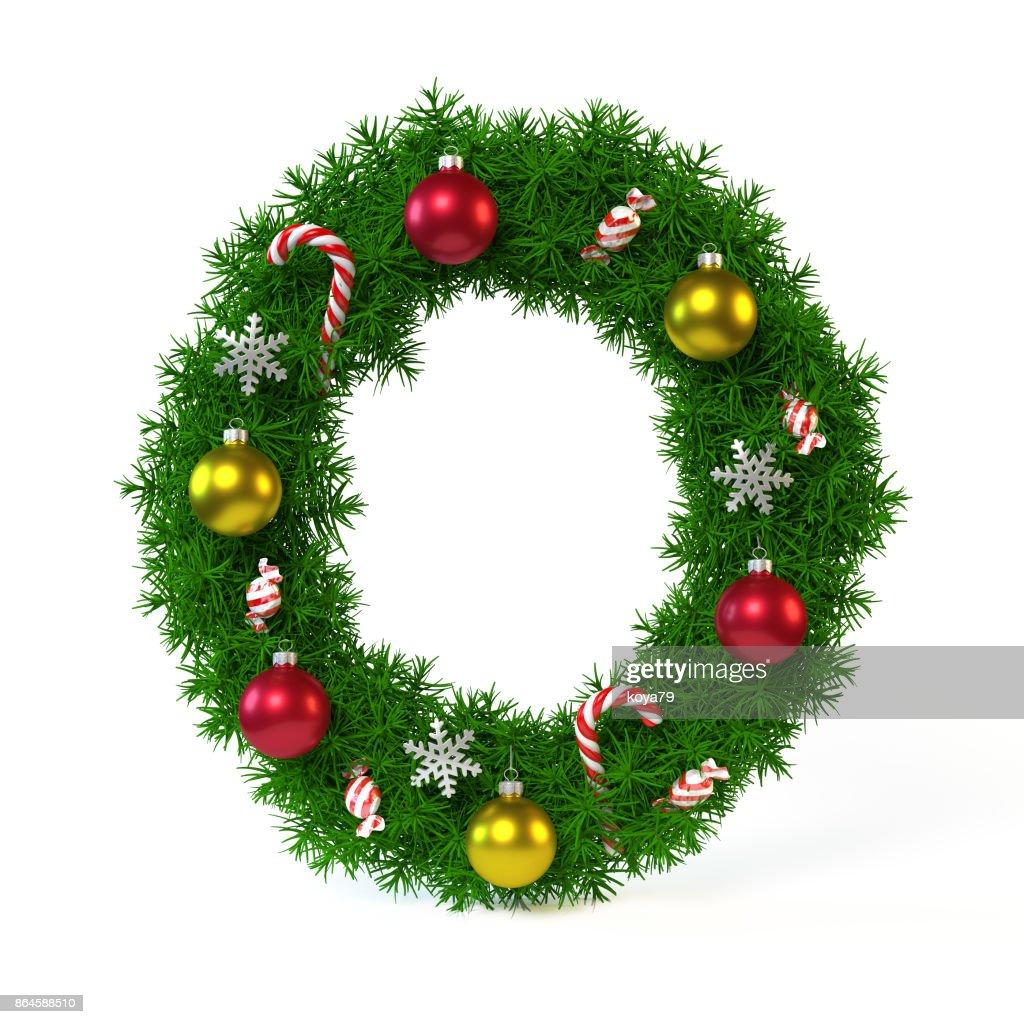 Schriftart Weihnachten.Weihnachten Schriftart Isoliert Auf Weiss Buchstabe O Stock Foto