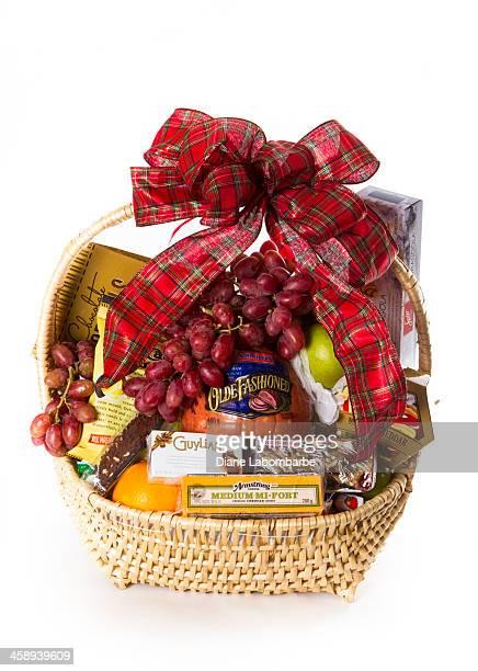 Christmas Food Basket Gift On White Background