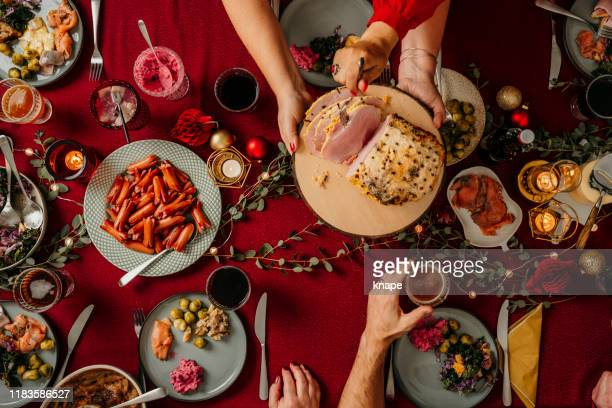 christmas food smorgasbord - evening meal stock pictures, royalty-free photos & images
