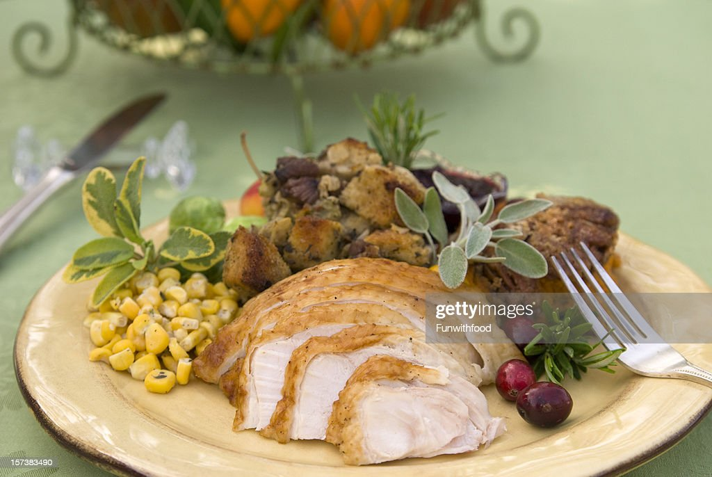Christmas Food Thanksgiving Meal Roast Turkey Dinner Plate Stock Photo