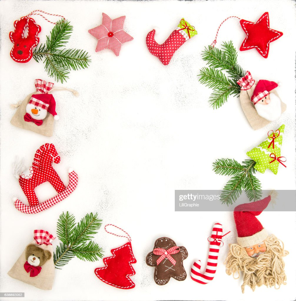 Christmas Frame Ornaments Decoration Gift Bags Stock Photo | Getty ...