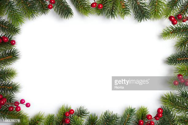 christmas frame - holly stock pictures, royalty-free photos & images