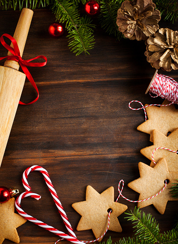 Christmas frame with cookie and fir branches - gettyimageskorea