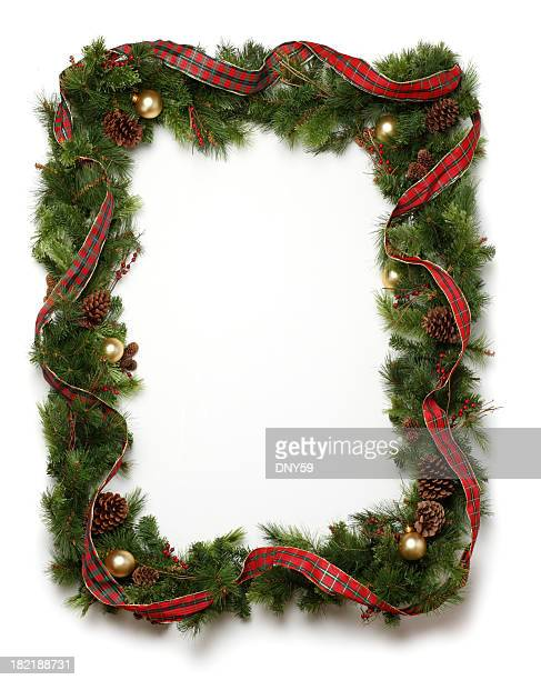 christmas garland frame - wreath stock pictures, royalty-free photos & images