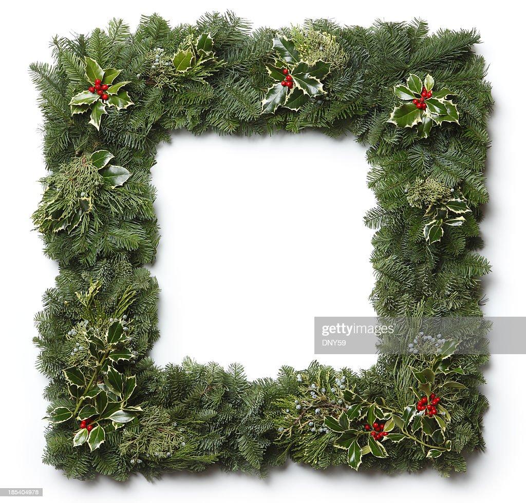 Christmas Garland Frame : Stock Photo