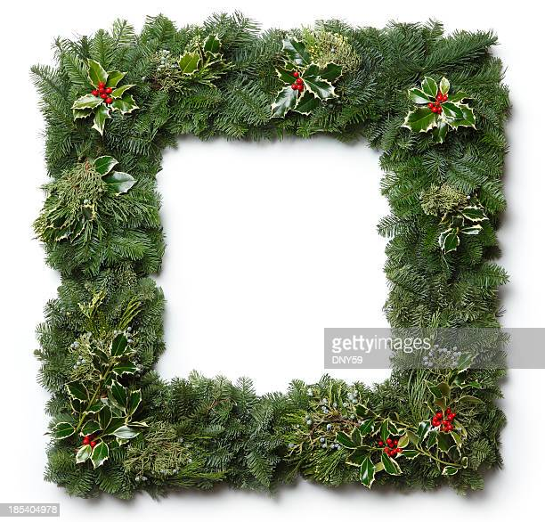 christmas garland frame - christmas garland stock pictures, royalty-free photos & images