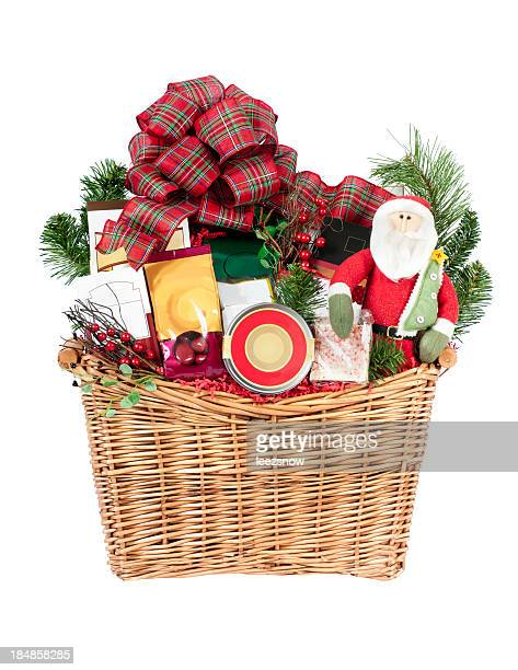 christmas gift basket on white - basket stock photos and pictures